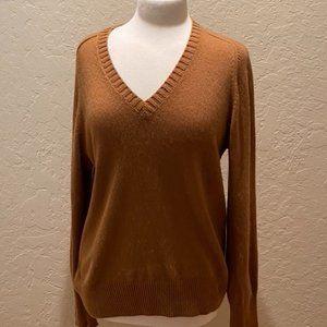 J Crew cashmere caramel colored v neck XL